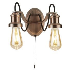 Olivia 2 Light Wall Bracket, Black Braided Fabric Cable, Antique Copper