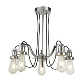 Olivia 5 Light Ceiling Fitting, Black Braided Fabric Cable, Chrome