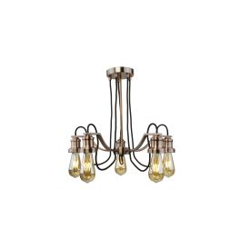 Olivia, 5 Light Ceiling Fitting, Black Braided Fabric Cable, Antique Copper