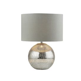 Dazzle Table Lamp, Cracked Mirror Effect Base, Grey Shade