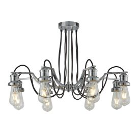 Olivia 8 Light Ceiling Fitting, Black Braided Fabric Cable, Chrome