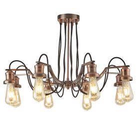 Olivia 8 Light Ceiling Fitting, Black Braided Fabric Cable, Antique Copper