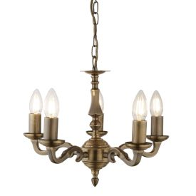 Malaga Solid Brass 5 Light Fitting With Metal Candle Tubes