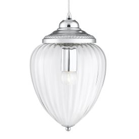 Chrome Pendant Light With Clear Ribbed Optic Glass Shade