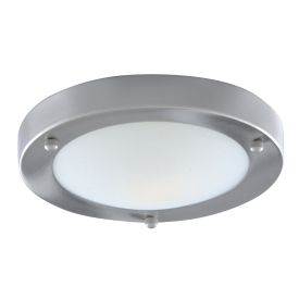 Ip44 Satin Silver Flush Fitting With Domed Marble Glass Diffuser