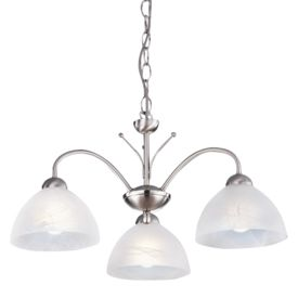 Milanese Satin Silver 3 Light Fitting With Alabaster Glass