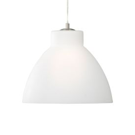 Opal Glass Pendant Light With Satin Silver Trim