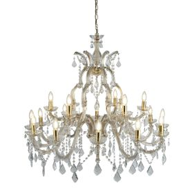 Marie Therese Brass 18 Light Chandelier With Crystal Drops