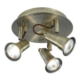 Eros Antique Brass 3 Light Ceiling Spotlight