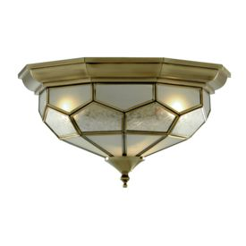 Antique Brass Flush Light Fitting With Clear, Frosted And Sanded Glass