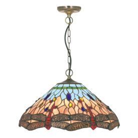 Dragonfly Antique Brass Pendant Light With Hand Made Tiffany Glass