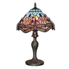 Dragonfly Antique Brass Table Lamp With Hand Made Tiffany Glass