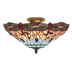 Dragonfly Antique Brass 3 Light Semi-flush With Hand Made Tiffany Glass