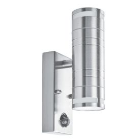 Ip44 Outdoor 2 Light Wall Light, Stainless Steel, Motion Sensor