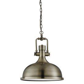Kansas Industrial Pendant - 1lt Pendant, Antique Brass, Frosted Glass