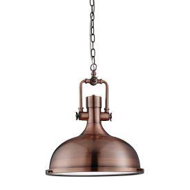Kansas Industrial Pendant - 1lt Pendant, Antique Copper, Frosted Glass