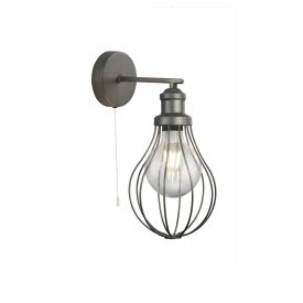 Balloon Cage 1lt Wall Light, Pewter