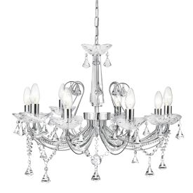 Lafayette Chrome 8 Light Chandelier With Crystal Column & Buttons