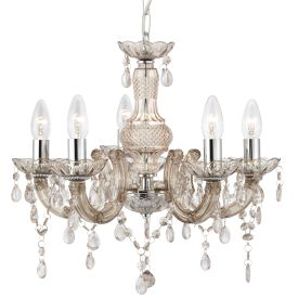 Marie Therese Mink 5 Light Chandelier With Acrylic Glass Drops