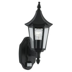 Bel Aire Aluminium Ip44 Black Outdoor Wall Light, Clear Glass, Sensor