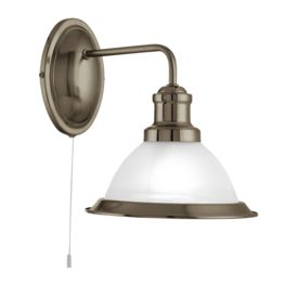 Bistro Antique Brass Wall Light With Marble Glass Shade