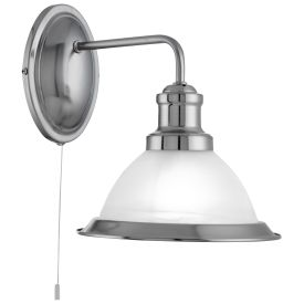 Bistro Satin Silver Wall Light With Marble Glass Shade