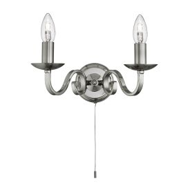 Richmond Satin Silver 2 Light Wall Bracket With Candle Style Sconces