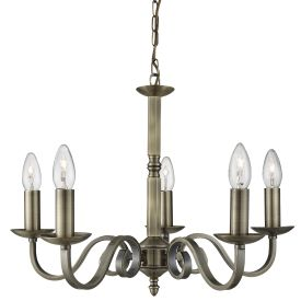 Richmond Antique Brass 5 Light Ceiling Fitting With Candle Style Sconces