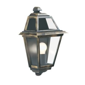 New Orleans Aluminium Ip44 Black Gold Outdoor Wall Light, Clear Glass