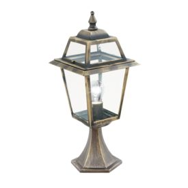 New Orleans Aluminium Ip44 Black Gold Outdoor Post Lamp, Clear Glass