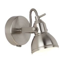 Focus 1 Light Satin Silver Industrial Spotlight