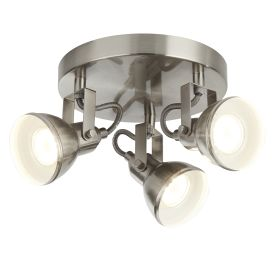 Focus 3 Light Satin Silver Industrial Spotlight Disc