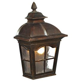 Pompeii Aluminium Ip23 Brown Stone, Outdoor Wall Light With Textured Glass