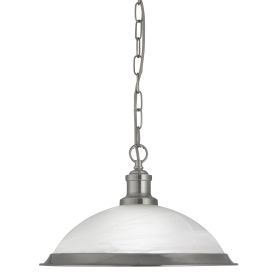 Bistro Satin Silver Pendant Light With Marble Glass Shade