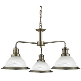 Bistro Antique Brass 3 Light Ceiling Fitting With Marble Glass Shades