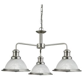 Bistro Satin Silver 3 Light Ceiling Fitting With Marble Glass Shades