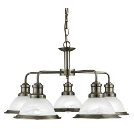 Bistro Antique Brass 5 Light Ceiling Fitting With Marble Glass Shades
