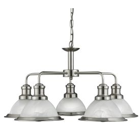 Bistro Satin Silver 5 Light Ceiling Fitting With Marble Glass Shades