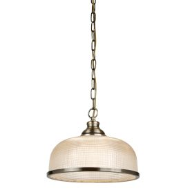 Bistro Ii - 1 Light Pendant, Antique Brass, Halophane Glass
