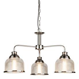 Bistro Ii - 3 Light Ceiling, Satin Silver, Halophane Glass
