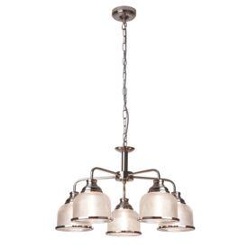 Bistro Ii - 5 Light Ceiling, Satin Silver, Halophane Glass