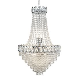 Louis Philippe  Chrome 11 Light Chandelier With Crystal Strings & Beads