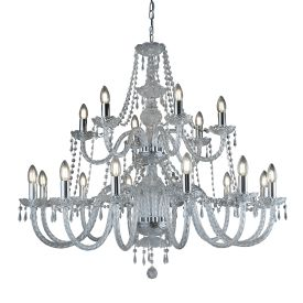 Hale Chrome 18 Light Chandelier With Crystal Trimmings