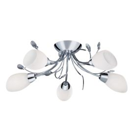 Gardenia Chrome 5 Light Semi-flush With Crystal Detail & Opal Glass Shades