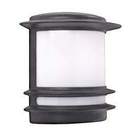 Stroud Black Aluminium Ip44 Outdoor Post Light Opal Polycarbonate Shade