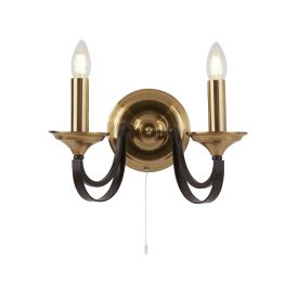Belfry 2lt Wall Light -  Dark Bronze & Brown
