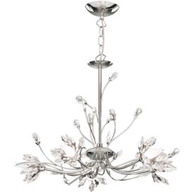 Hibiscus Chrome 5 Light Fitting With Crystal Petals