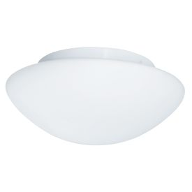 Ip44 White Flush Fitting, Opal Glass