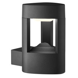 Aluminium Ip44 Grey Led Outdoor Wall Light, Clear Polycarbonate Shade
