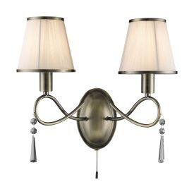 Simplicity Antique Brass 2 Light Wall Bracket With Glass Drops & White Shades